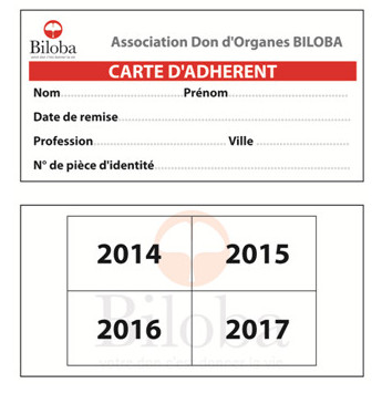 Carte d'adhérant de l'association don d'organes BILOBA (Algérie)